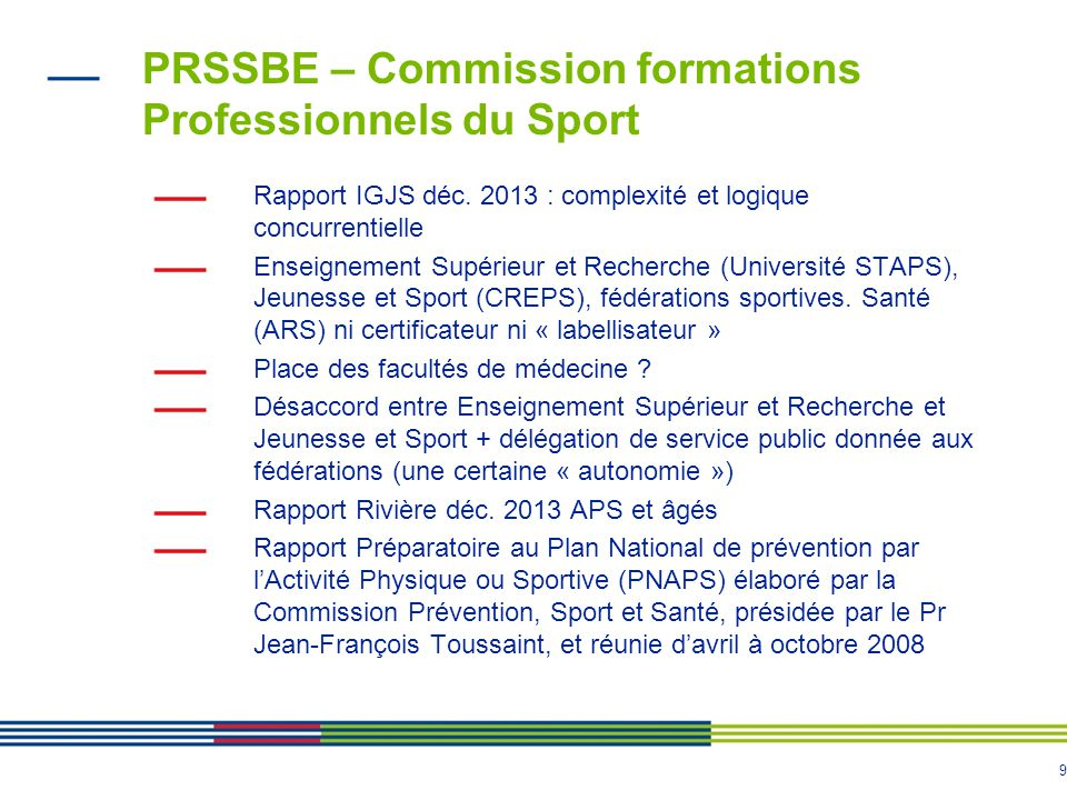 PRSSBE – Commission formations Professionnels du Sport