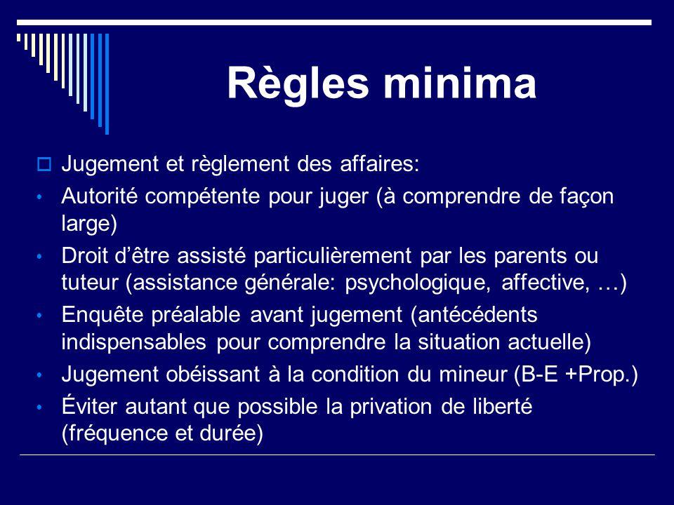 Règles minima Jugement et règlement des affaires: