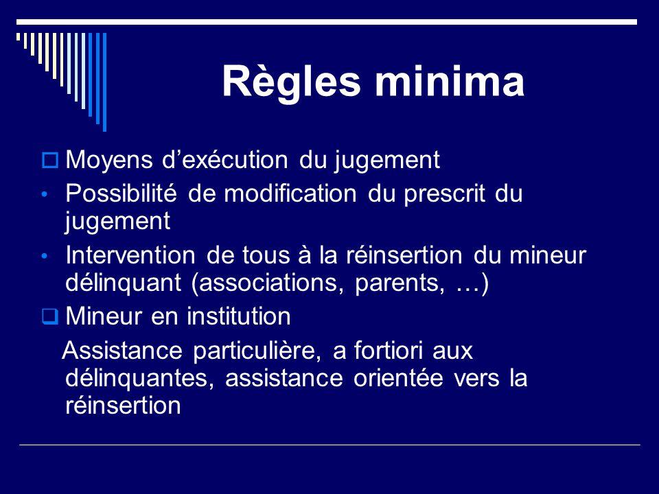 Règles minima Moyens d'exécution du jugement