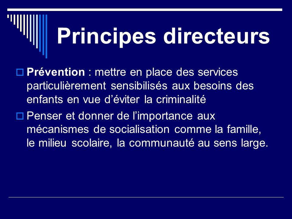 Principes directeurs Prévention : mettre en place des services particulièrement sensibilisés aux besoins des enfants en vue d'éviter la criminalité.