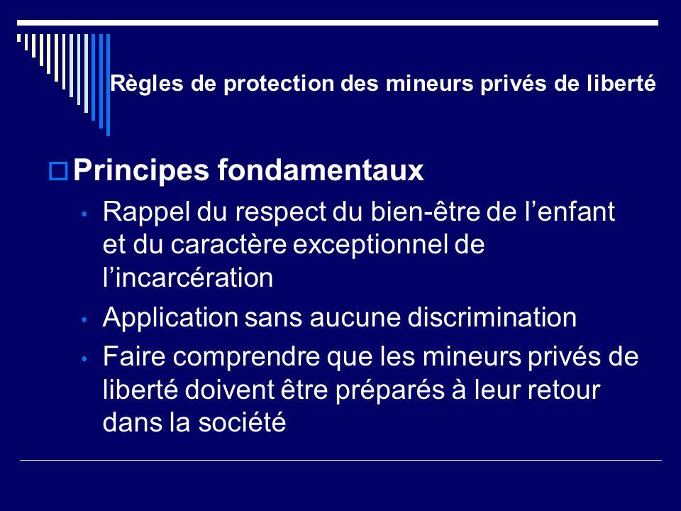 Règles de protection des mineurs privés de liberté