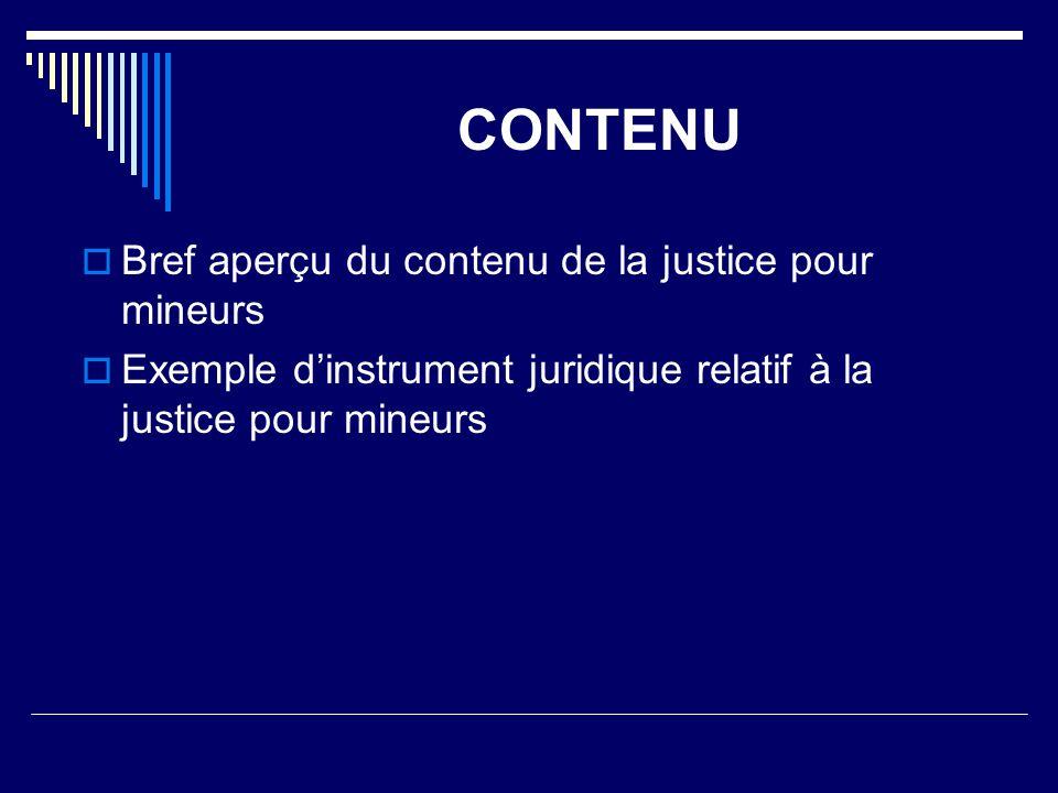 CONTENU Bref aperçu du contenu de la justice pour mineurs