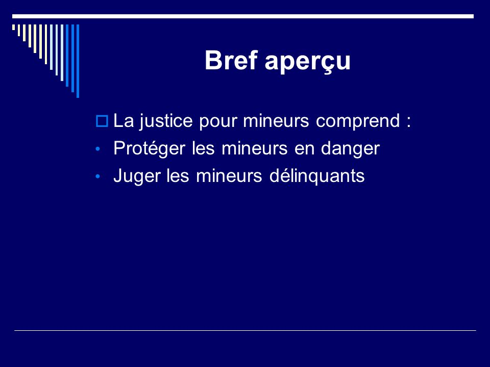 Bref aperçu La justice pour mineurs comprend :