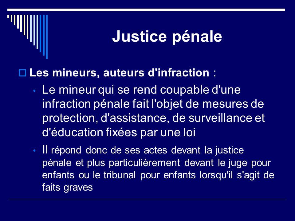 Justice pénale Les mineurs, auteurs d infraction :