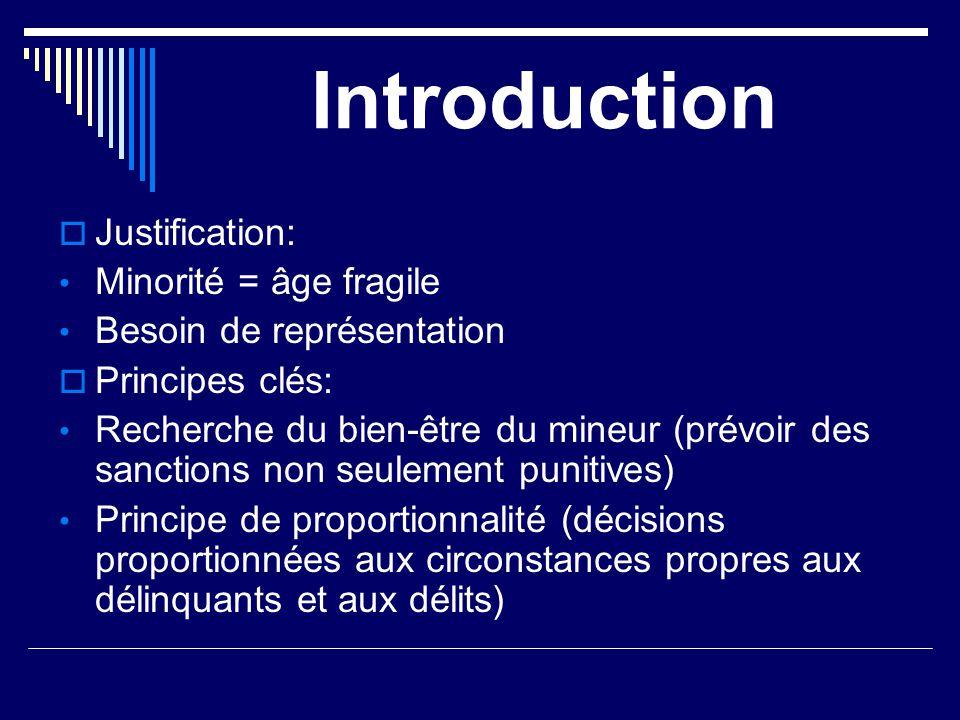 Introduction Justification: Minorité = âge fragile