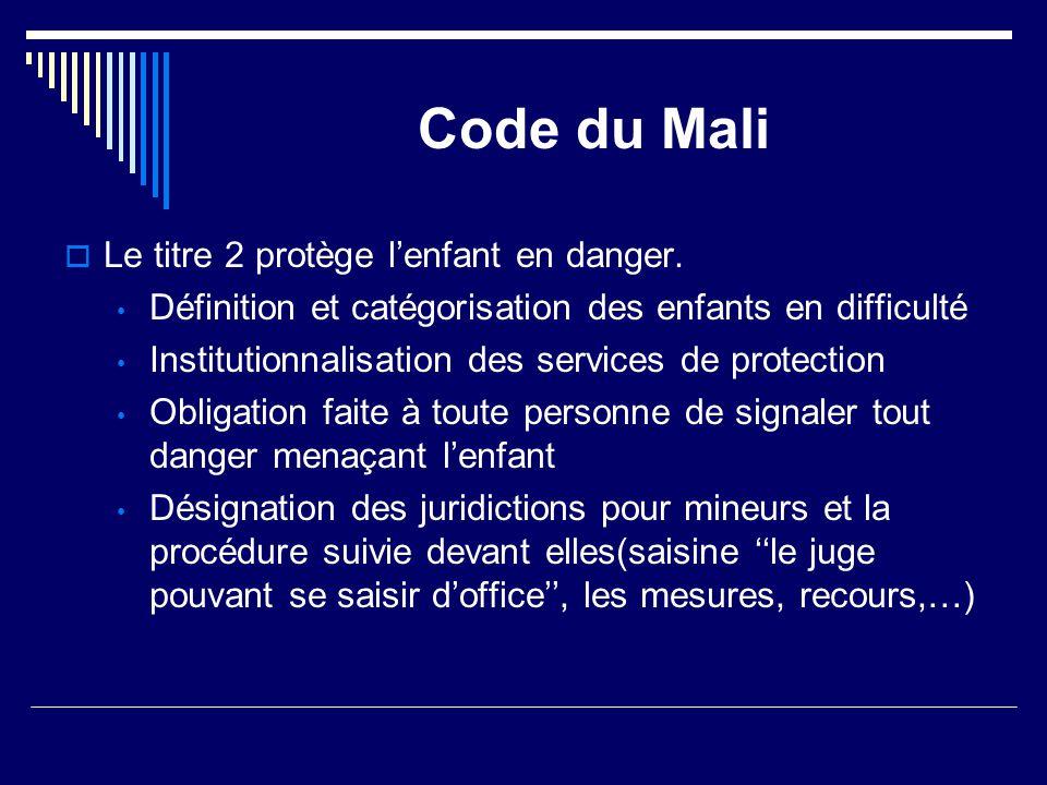 Code du Mali Le titre 2 protège l'enfant en danger.