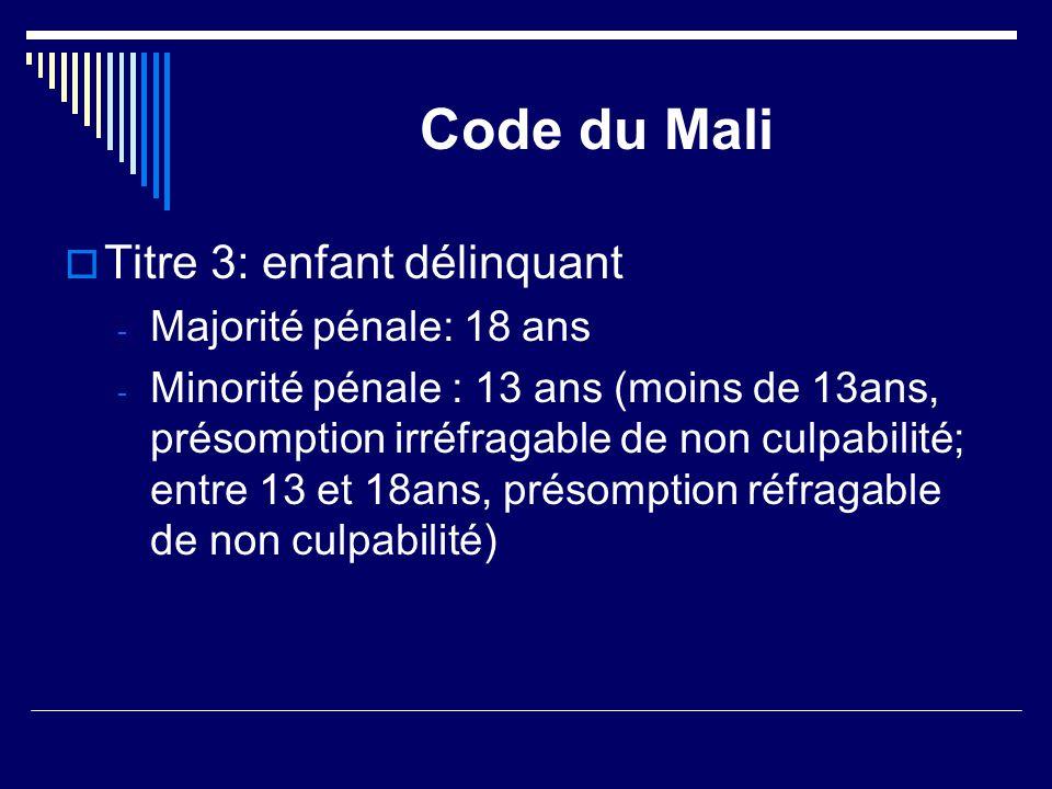 Code du Mali Titre 3: enfant délinquant Majorité pénale: 18 ans