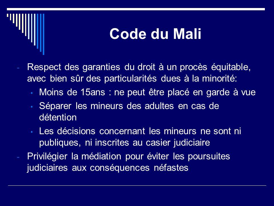 Code du Mali Respect des garanties du droit à un procès équitable, avec bien sûr des particularités dues à la minorité: