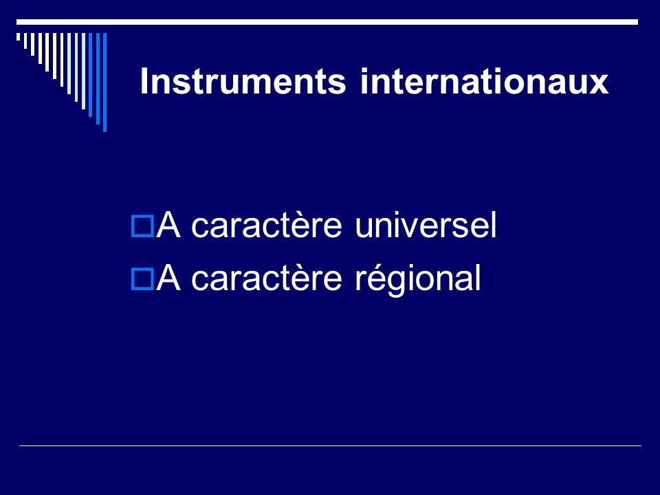 Instruments internationaux