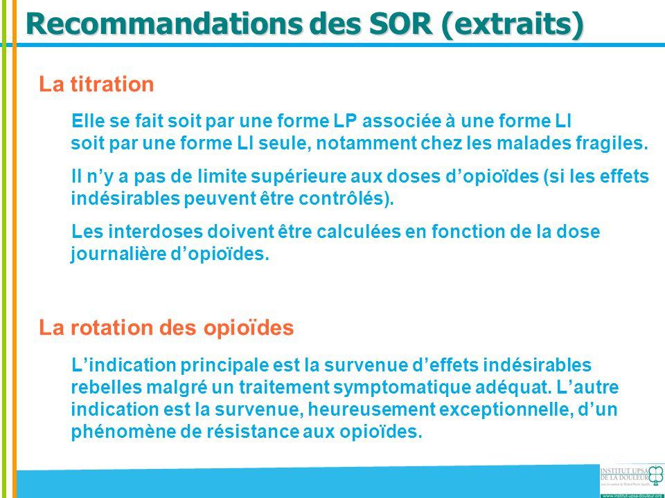 Recommandations des SOR (extraits)