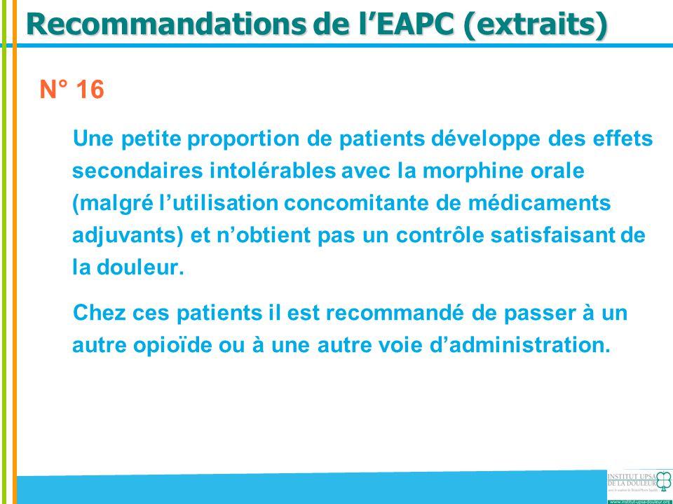 Recommandations de l'EAPC (extraits)