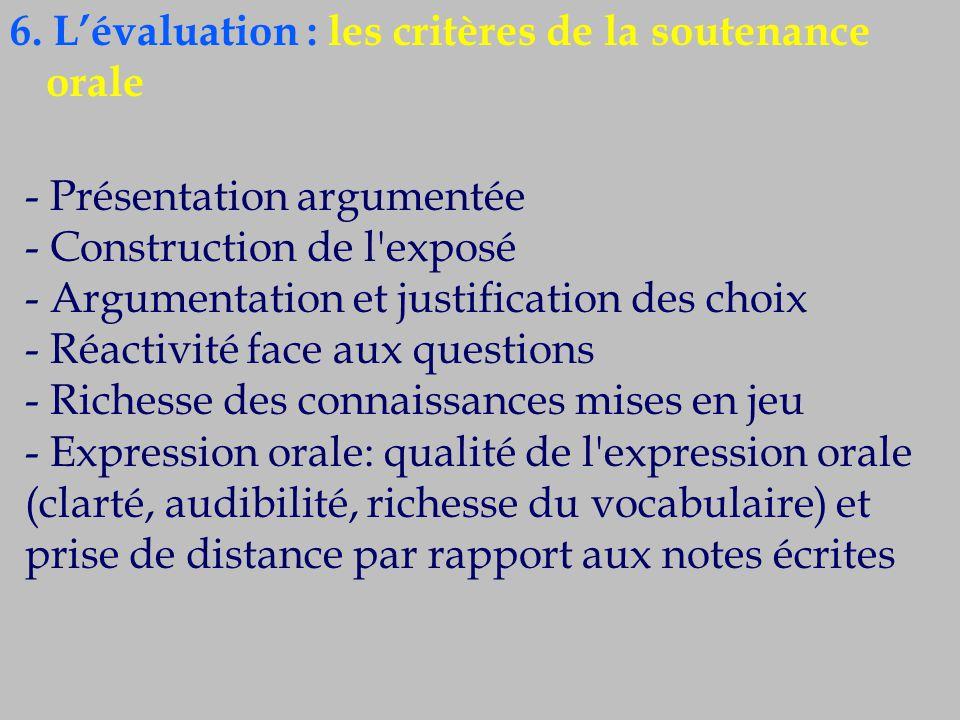6. L'évaluation : les critères de la soutenance orale