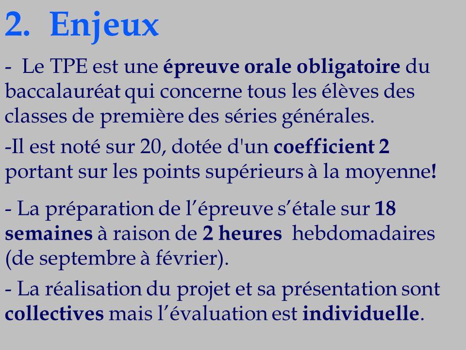 2. Enjeux - Le TPE est une épreuve orale obligatoire du baccalauréat qui concerne tous les élèves des classes de première des séries générales.