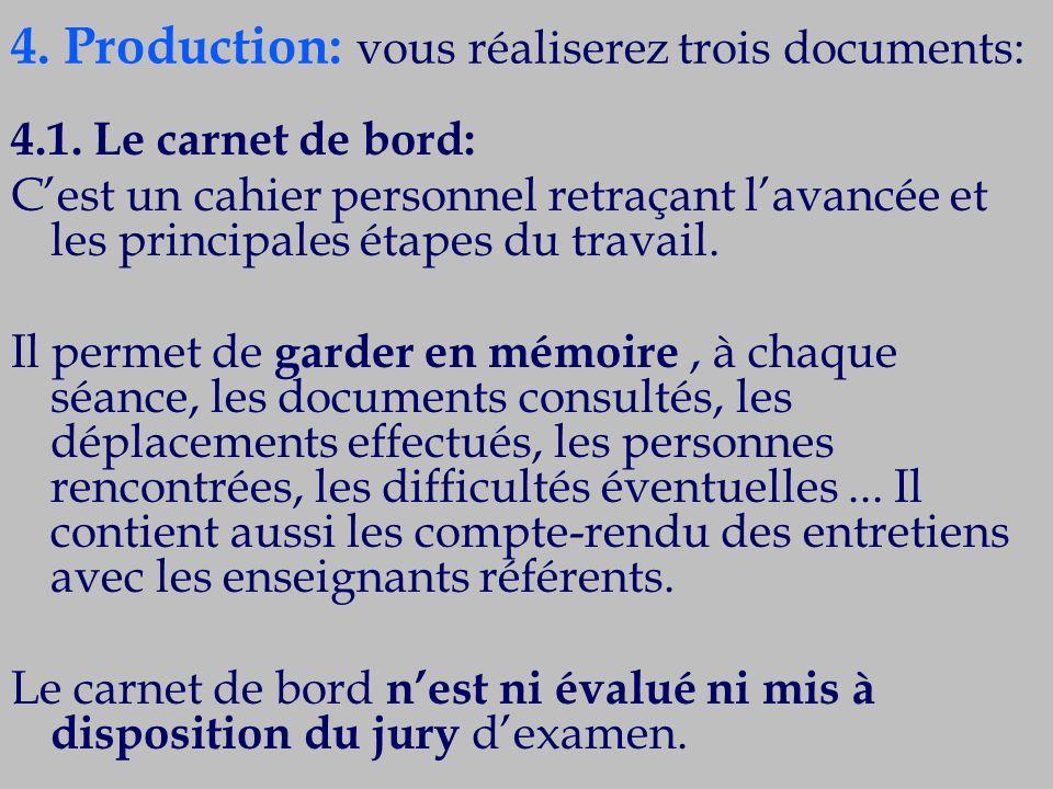 4. Production: vous réaliserez trois documents: