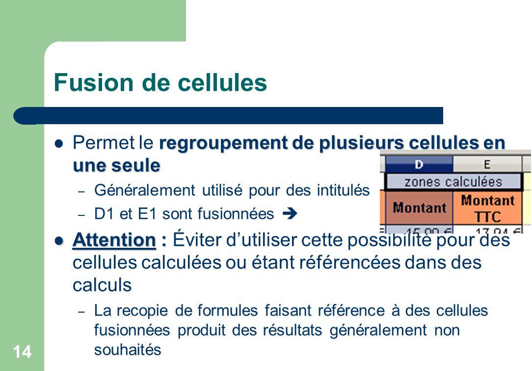 Fusion de cellules Permet le regroupement de plusieurs cellules en une seule. Généralement utilisé pour des intitulés.