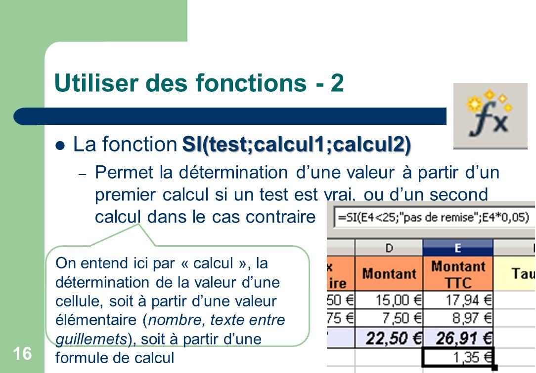 Utiliser des fonctions - 2