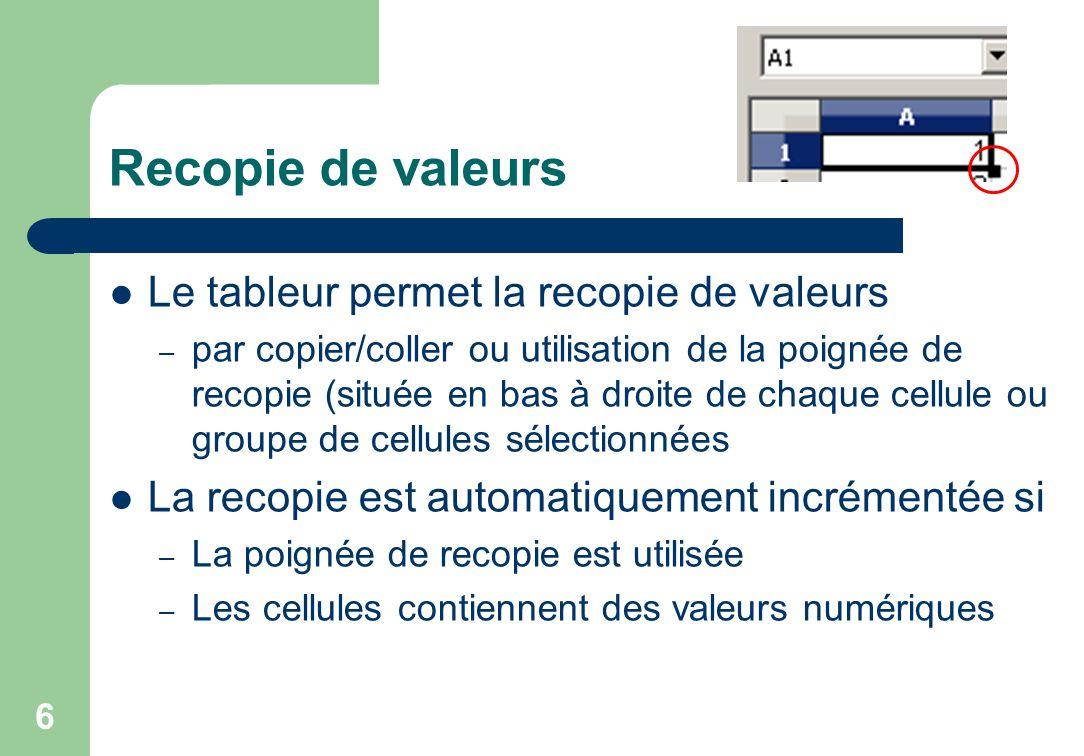 Recopie de valeurs Le tableur permet la recopie de valeurs