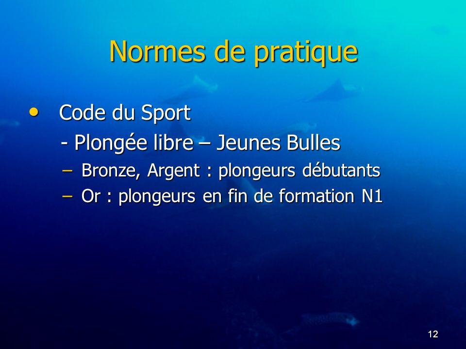 Normes de pratique Code du Sport - Plongée libre – Jeunes Bulles