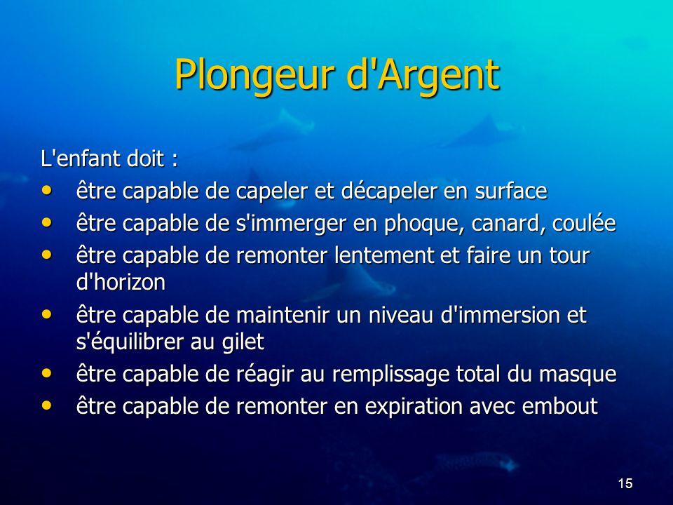 Plongeur d Argent L enfant doit :