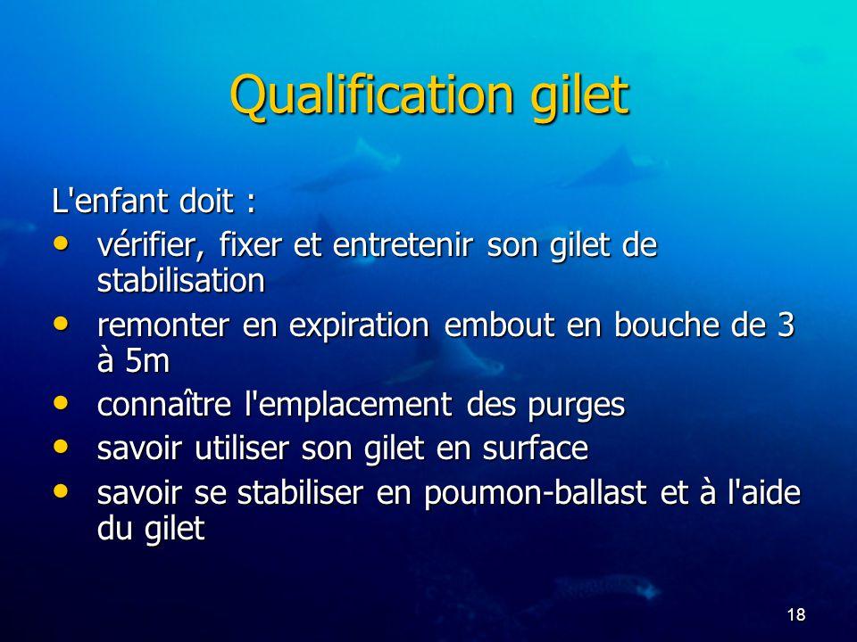 Qualification gilet L enfant doit :