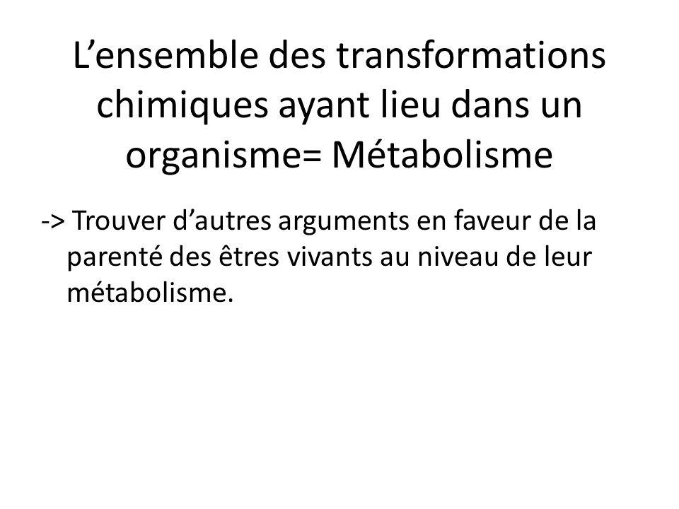 L'ensemble des transformations chimiques ayant lieu dans un organisme= Métabolisme