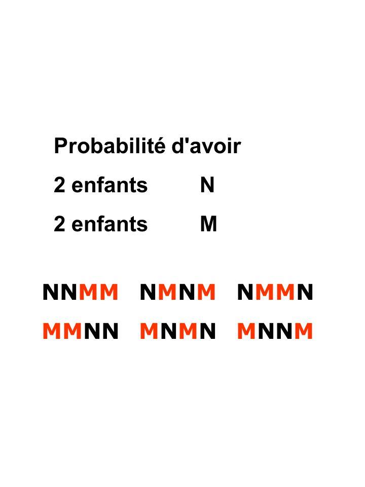 Probabilité d avoir 2 enfants N 2 enfants M NNMM NMNM NMMN MMNN MNMN MNNM