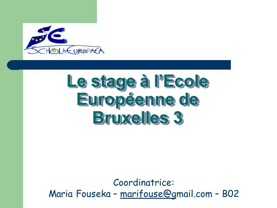 Le stage à l'Ecole Européenne de Bruxelles 3