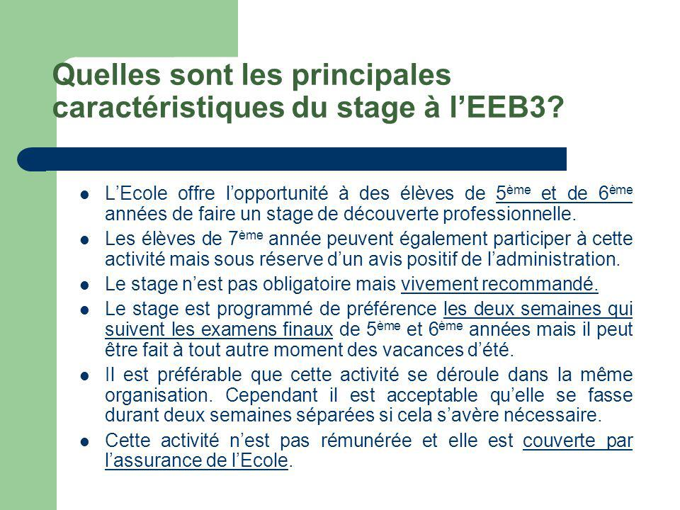 Quelles sont les principales caractéristiques du stage à l'EEB3