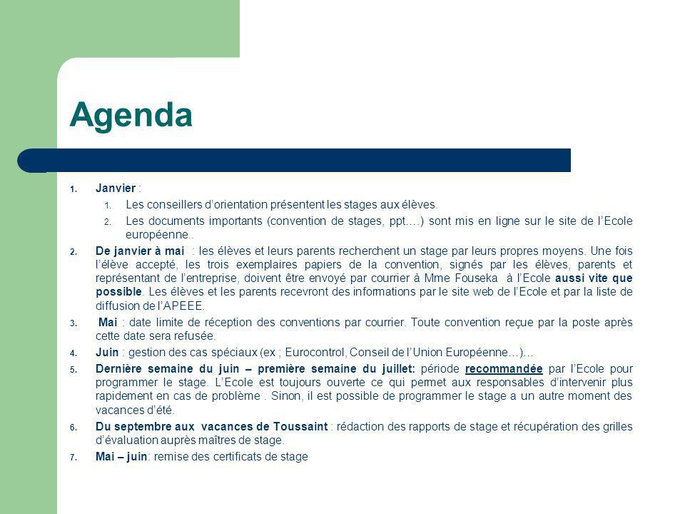 Agenda Janvier : Les conseillers d'orientation présentent les stages aux élèves.