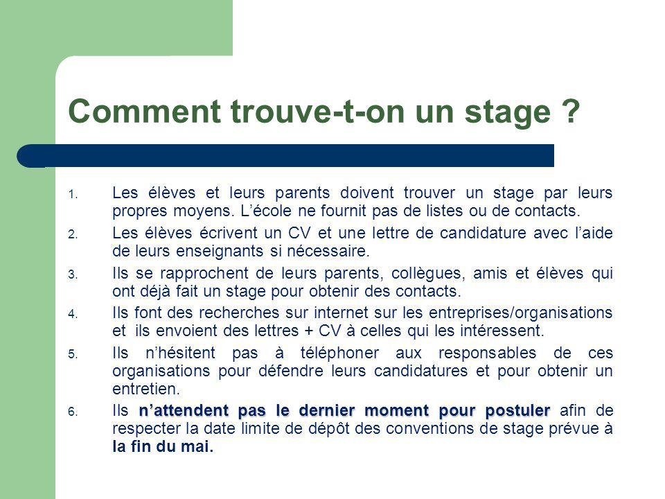 Comment trouve-t-on un stage