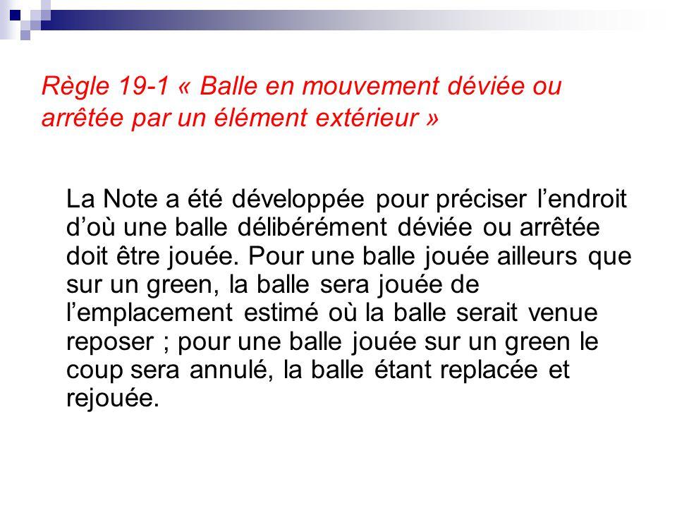 Règle 19-1 « Balle en mouvement déviée ou arrêtée par un élément extérieur »