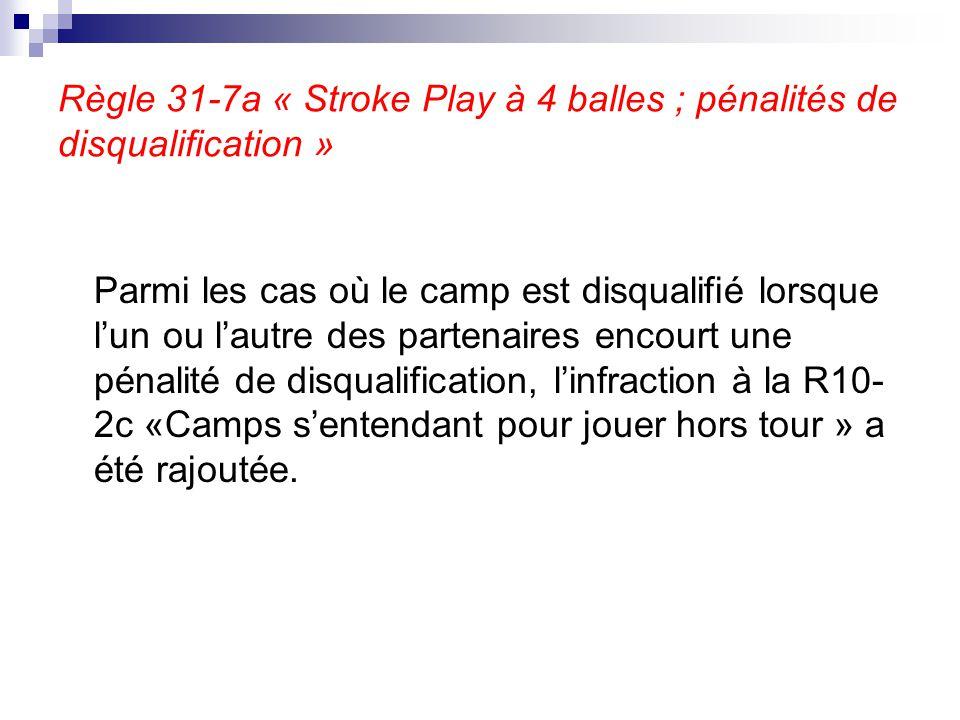 Règle 31-7a « Stroke Play à 4 balles ; pénalités de disqualification »
