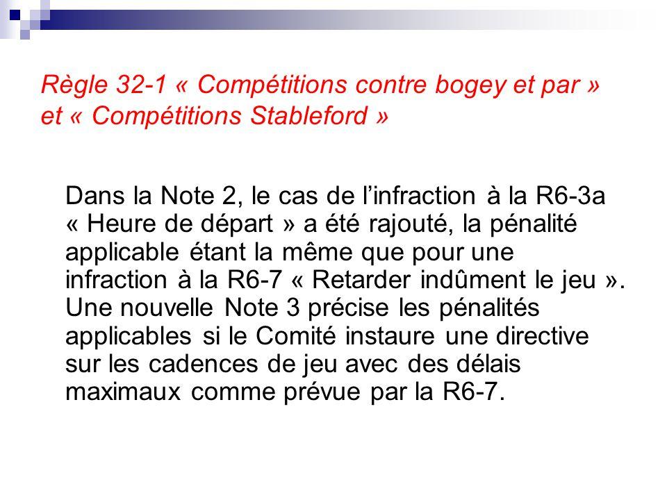 Règle 32-1 « Compétitions contre bogey et par » et « Compétitions Stableford »