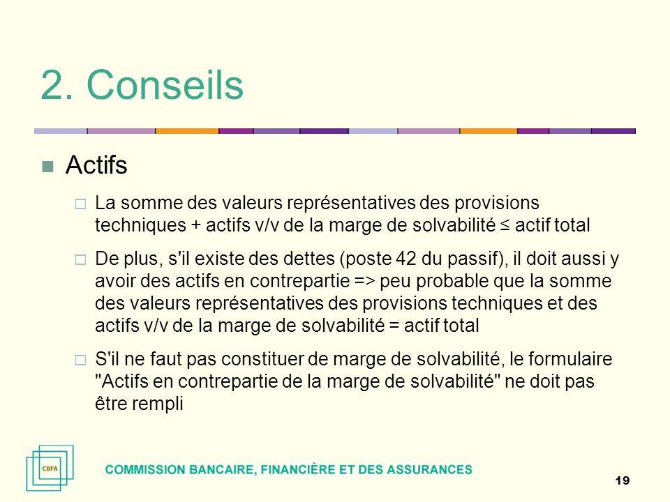 2. Conseils Actifs. La somme des valeurs représentatives des provisions techniques + actifs v/v de la marge de solvabilité ≤ actif total.