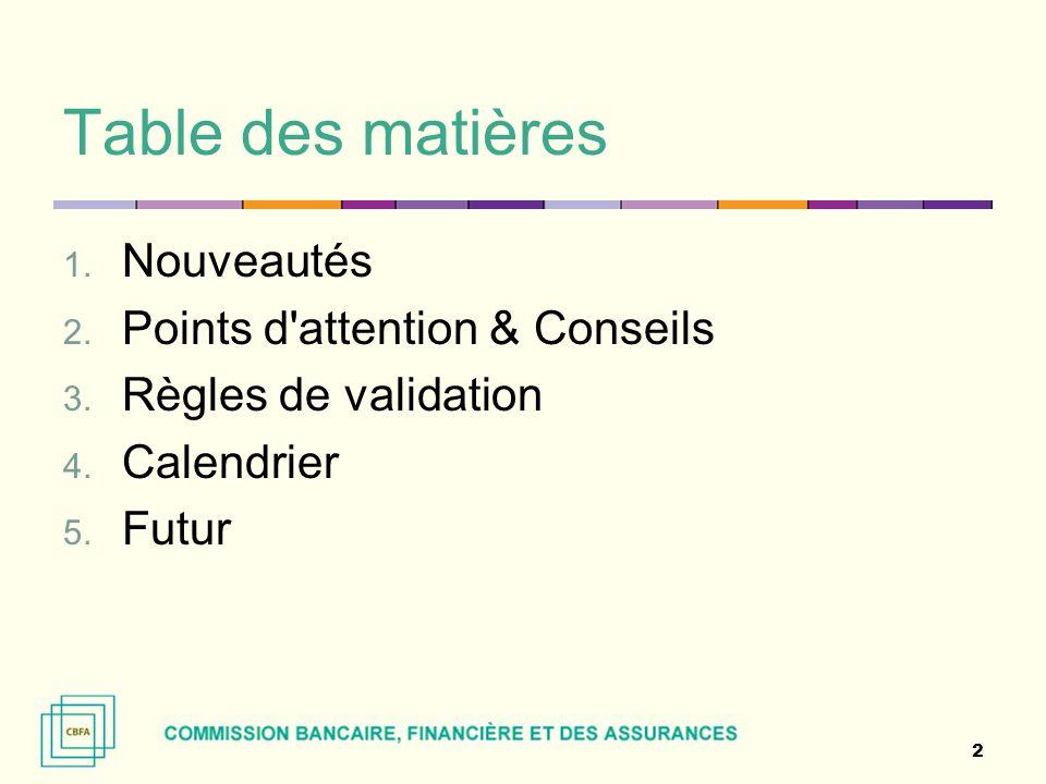 Table des matières Nouveautés Points d attention & Conseils
