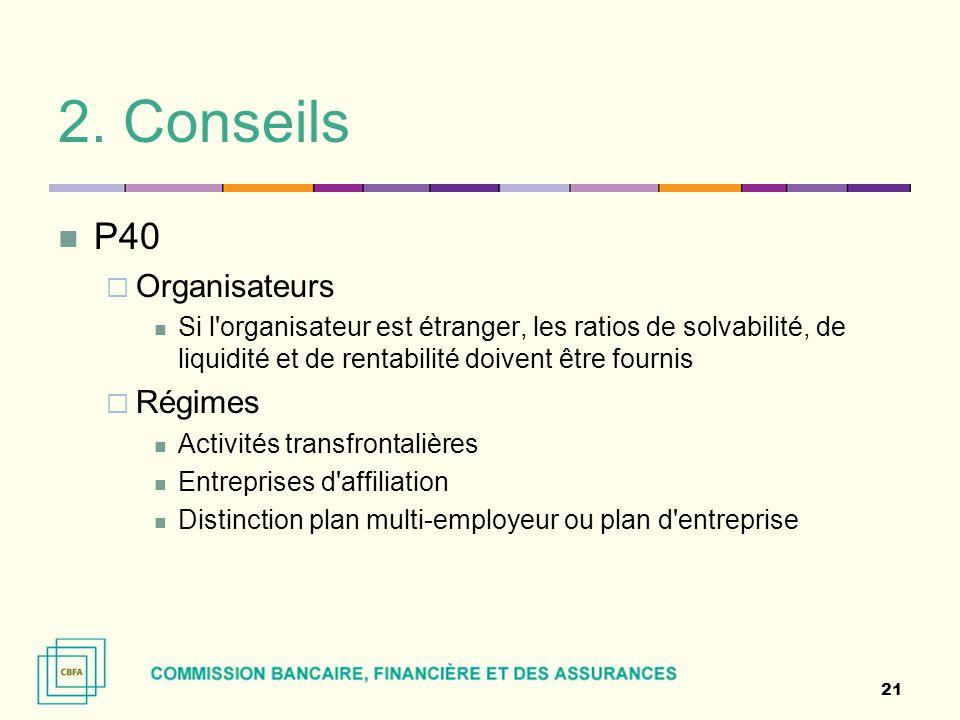 2. Conseils P40 Organisateurs Régimes