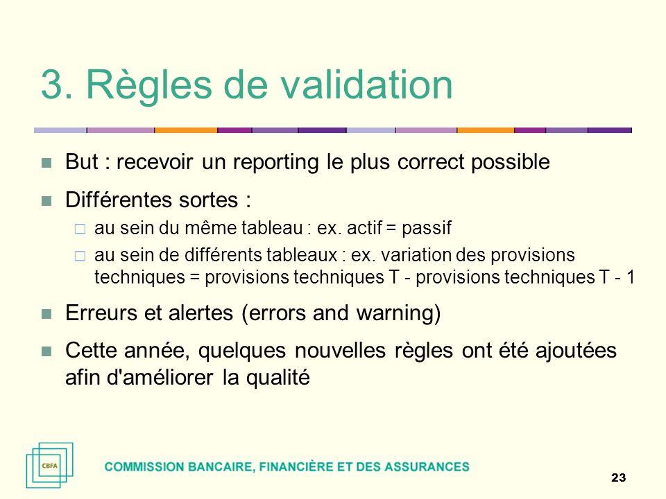 3. Règles de validation But : recevoir un reporting le plus correct possible. Différentes sortes :