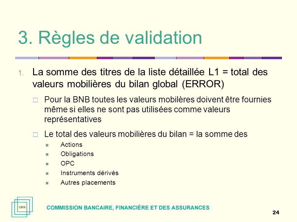 3. Règles de validation La somme des titres de la liste détaillée L1 = total des valeurs mobilières du bilan global (ERROR)