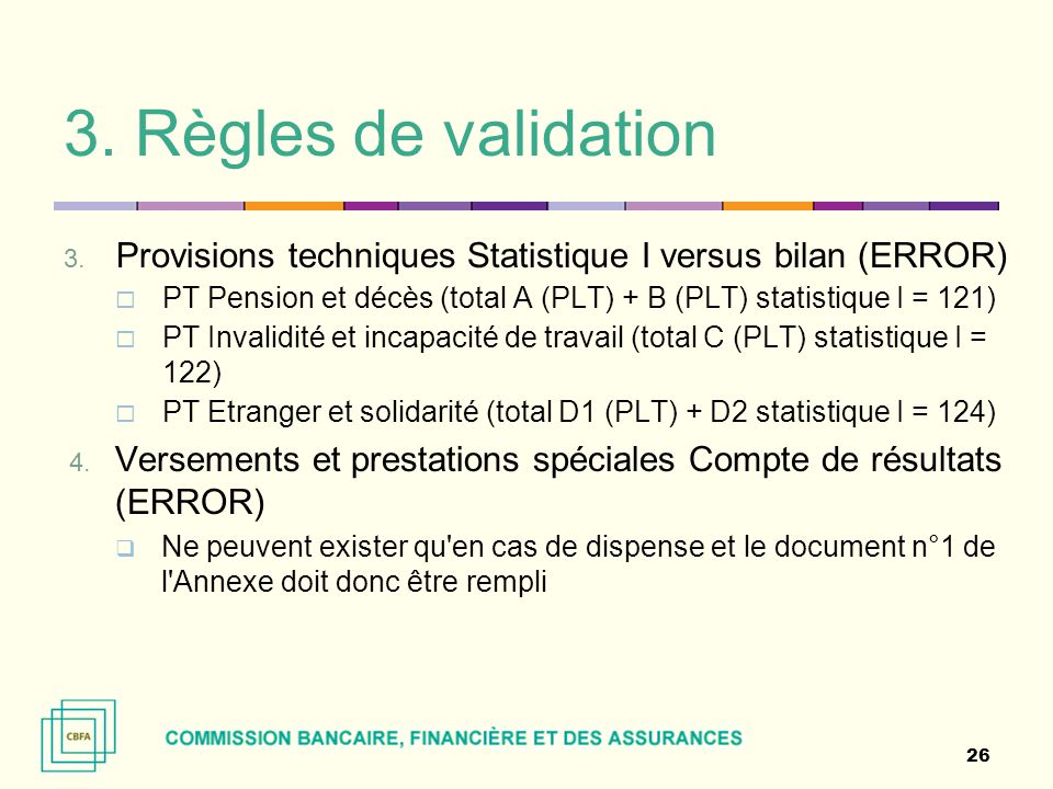3. Règles de validation Provisions techniques Statistique I versus bilan (ERROR) PT Pension et décès (total A (PLT) + B (PLT) statistique I = 121)
