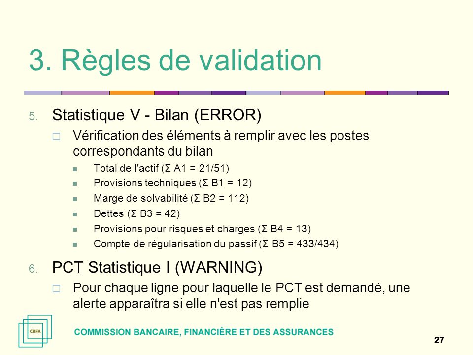 3. Règles de validation Statistique V - Bilan (ERROR)