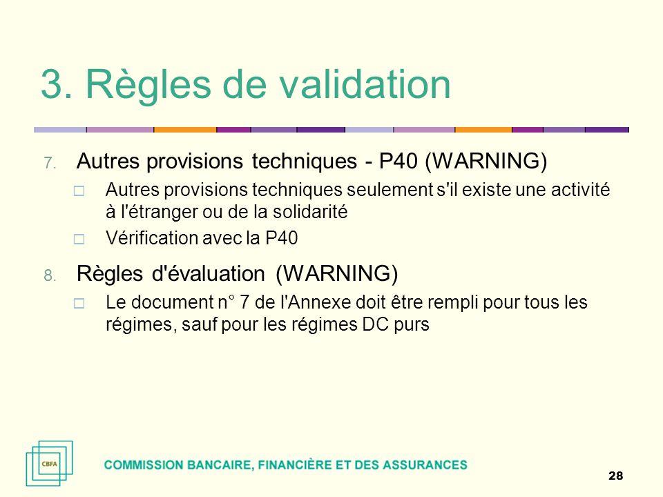 3. Règles de validation Autres provisions techniques - P40 (WARNING)