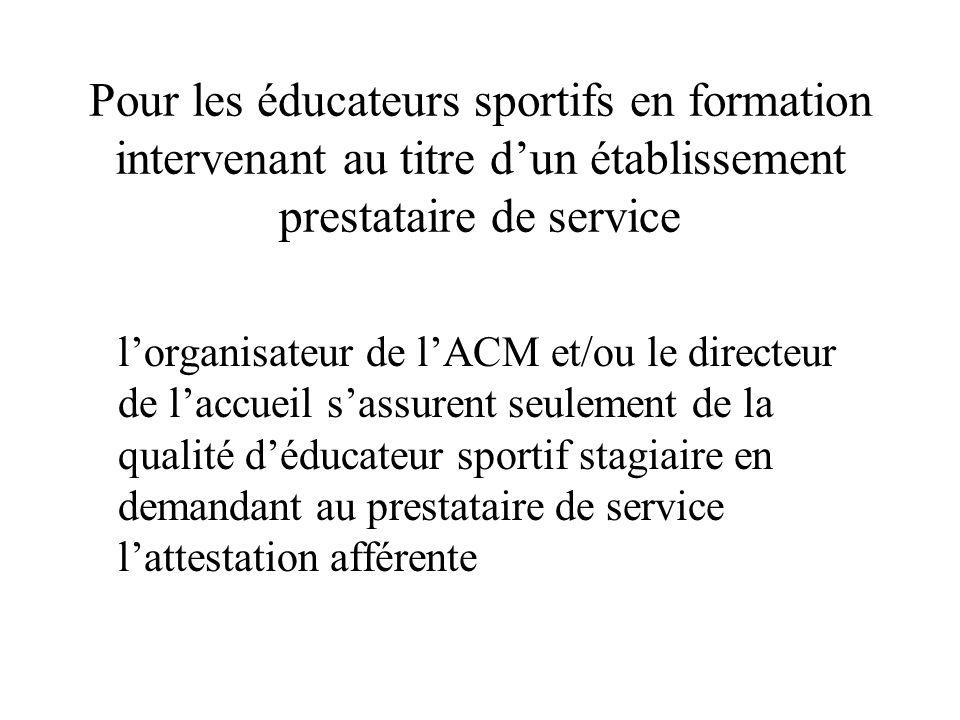 Pour les éducateurs sportifs en formation intervenant au titre d'un établissement prestataire de service