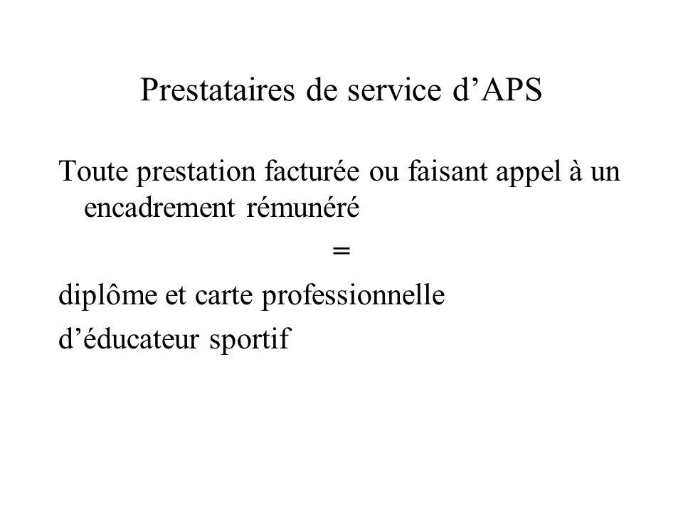 Prestataires de service d'APS