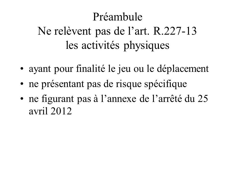 Préambule Ne relèvent pas de l'art. R.227-13 les activités physiques