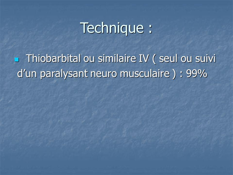 Technique : Thiobarbital ou similaire IV ( seul ou suivi