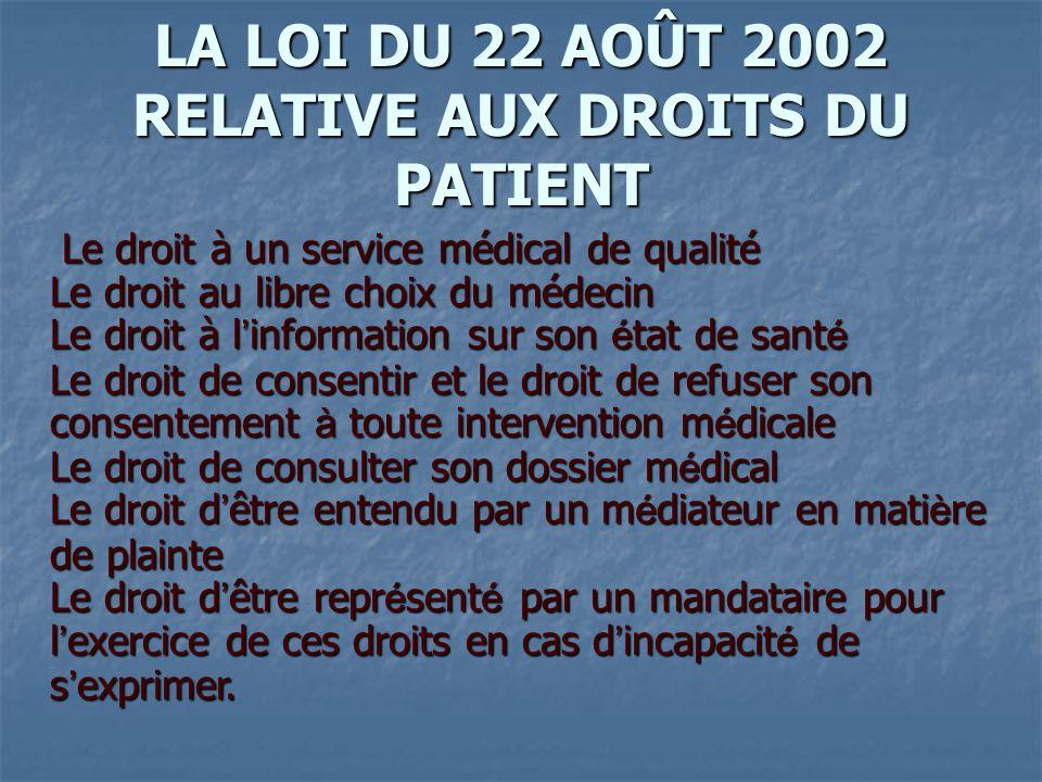 LA LOI DU 22 AOÛT 2002 RELATIVE AUX DROITS DU PATIENT