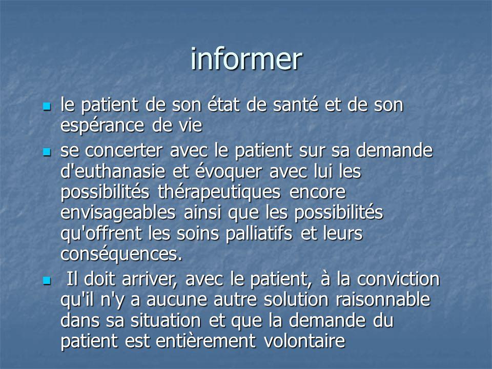 informer le patient de son état de santé et de son espérance de vie