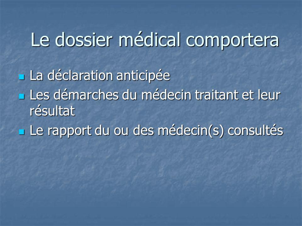 Le dossier médical comportera