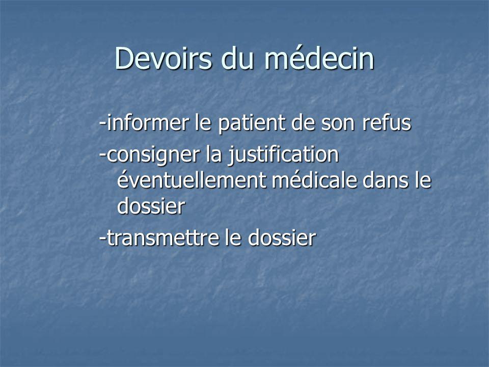 Devoirs du médecin -informer le patient de son refus