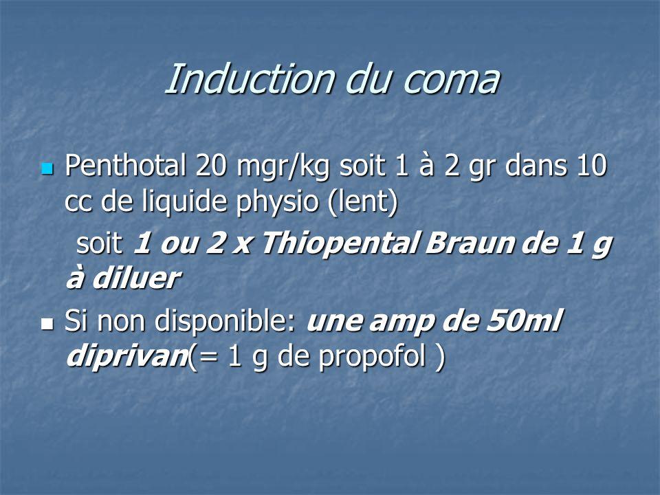 Induction du coma Penthotal 20 mgr/kg soit 1 à 2 gr dans 10 cc de liquide physio (lent) soit 1 ou 2 x Thiopental Braun de 1 g à diluer.